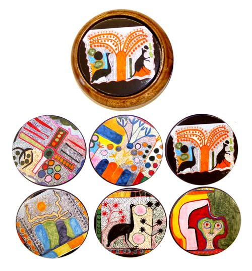 Wooden Case Coasters -Indigenart by Ngarra